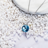 Picture of Blue Swarovski Element Pendant Necklace with Full Guarantee