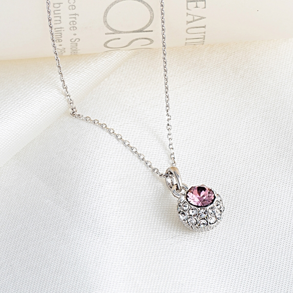 Picture of Recommended Platinum Plated Pink Pendant Necklace in Bulk