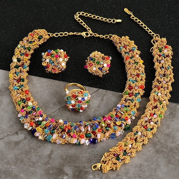 Picture of Unusual Big Colorful 4 Piece Jewelry Set