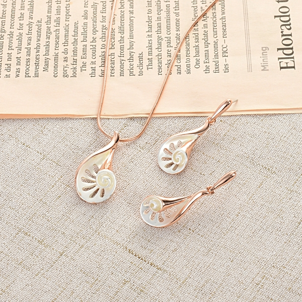 Picture of Trendy Rose Gold Plated White Necklace and Earring Set with No-Risk Refund
