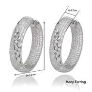 Picture of Copper or Brass Cubic Zirconia Big Hoop Earrings at Super Low Price