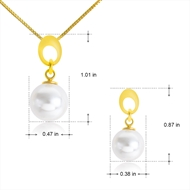 Picture of Hypoallergenic Gold Plated White Necklace and Earring Set with Easy Return