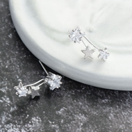 Picture of Purchase Platinum Plated White Stud Earrings with Wow Elements