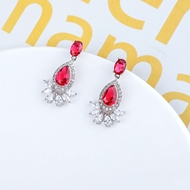 Picture of Designer Platinum Plated Cubic Zirconia Dangle Earrings with No-Risk Return